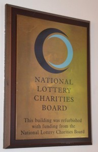 National Lottery Charities Board sign